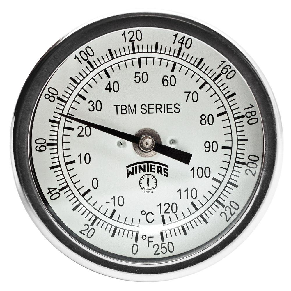 TBM Series 3 in. Dial Thermometer with Fixed Center Back Connection