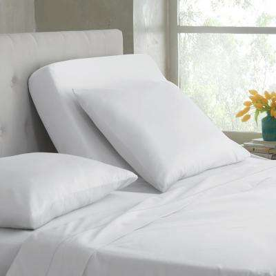 Split King T400 5-Piece White Cotton King Sheet Set