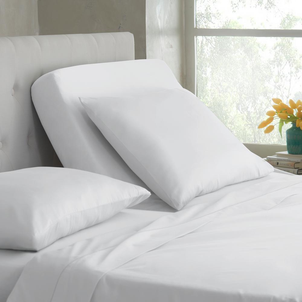 Split King T400 5 Piece White Cotton Sheet Set