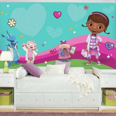 72 in. W x 126 in. H Doc Mcstuffins and Friends XL Chair Rail 7-Panel Prepasted Wall Mural