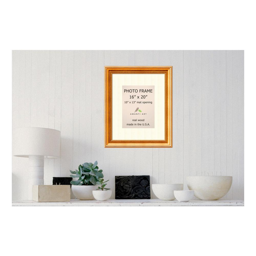 Amanti Art Townhouse 10 in. x 13 in. White Matted Gold Picture Frame ...