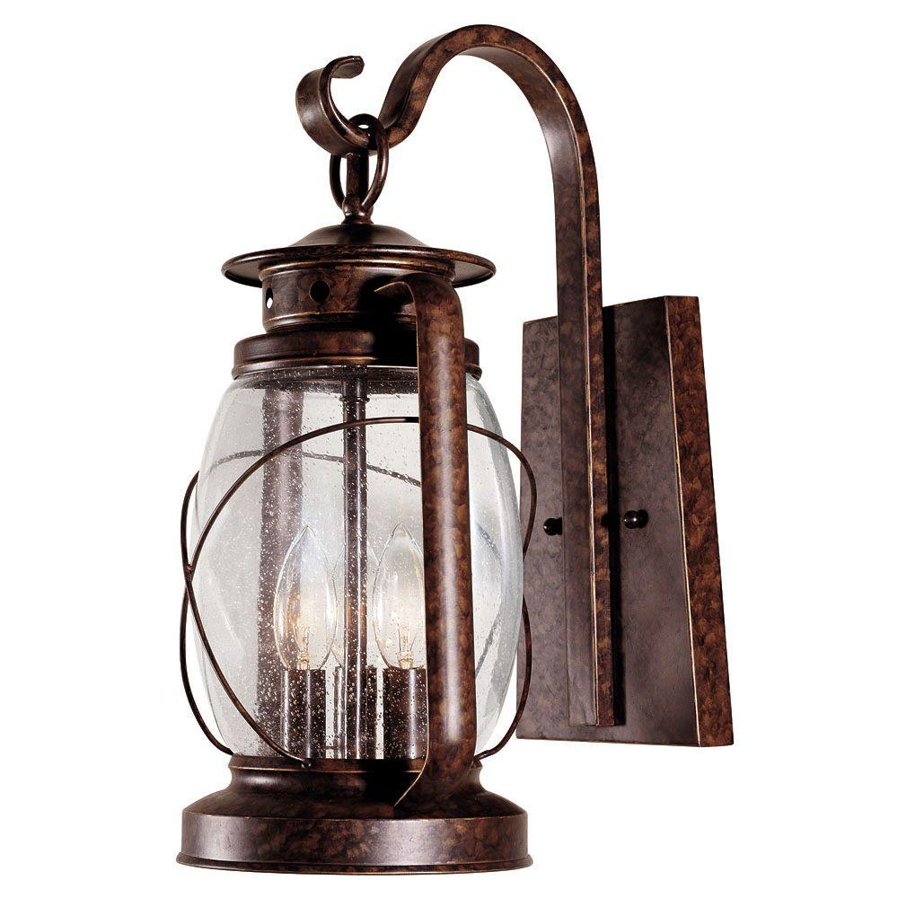 Illumine 3-Light Wall Mount Lantern New Tortoise Shell Finish Clear Seeded Glass