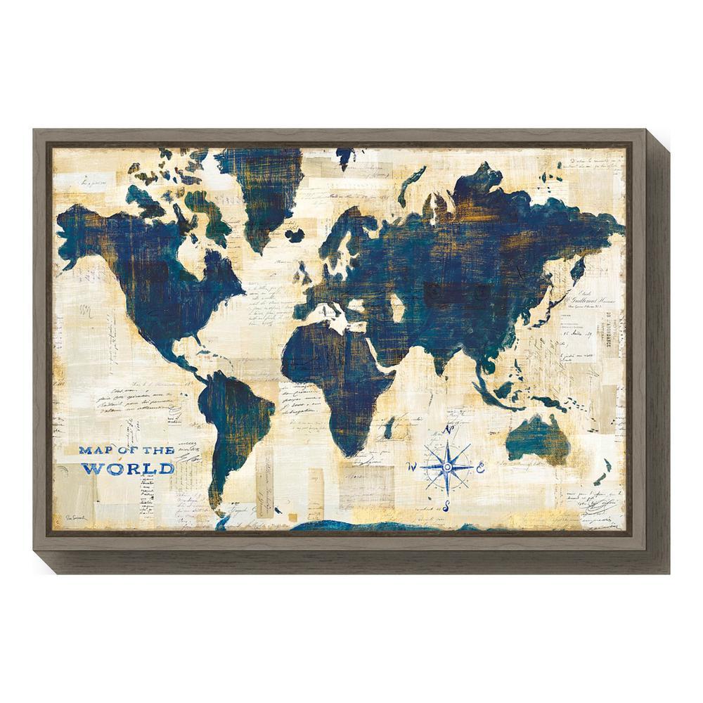 World Map Framed Wall Art.Amanti Art World Map Collage By Sue Schlabach Framed Canvas Wall