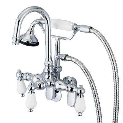 bathtub faucet with handheld shower head. 3 Handle Vintage Claw Foot Tub Faucet with Hand Shower  hand shower diverter Bathroom Faucets Bath The Home