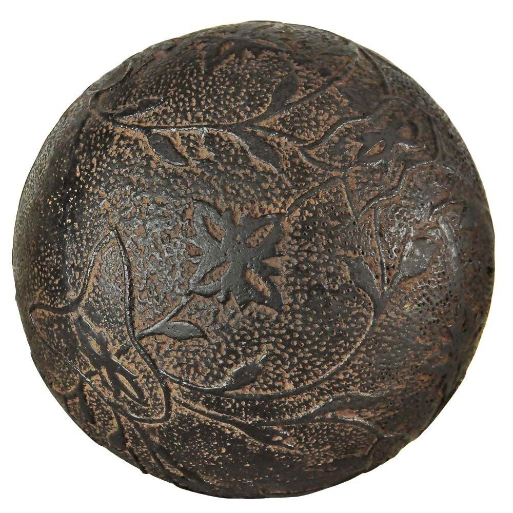 MPG 11-1/2 in. D Cast Stone Faux Iron Ball in an Aged Charcoal Finish