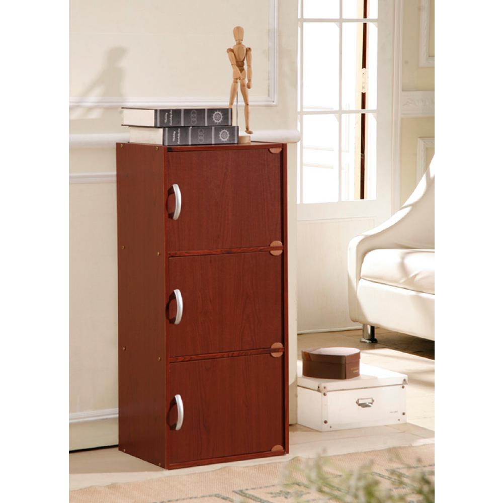 3-Shelf, 36 in. H Mahogany (Brown) Bookcase with Doors