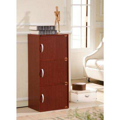 3-Shelf, 36 in. H Mahogany Bookcase with Doors