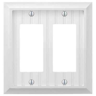 Cottage 2 Gang Rocker Composite Wall Plate - White