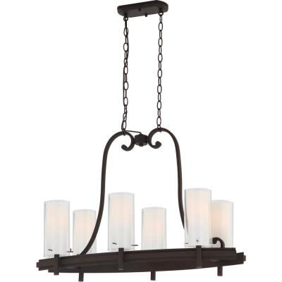 Regina 6-Light Antique Bronze Indoor Hanging Linear Island Chandelier, Outer Clear and Inner White Glass Cylinder Shades