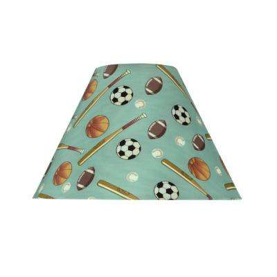 10 in. x 7 in. Blue and Sports Pattern Hardback Empire Lamp Shade