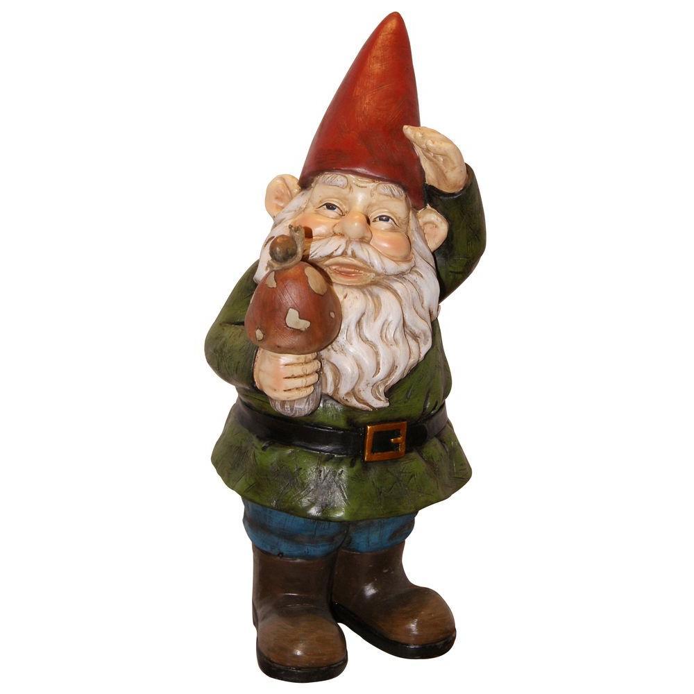 Gnome In Garden: Alpine Gnome Holding A Mushroom Statue-WAC408