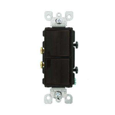 15 Amp Decora Residential Grade Combination Two Single Pole Switches, Brown