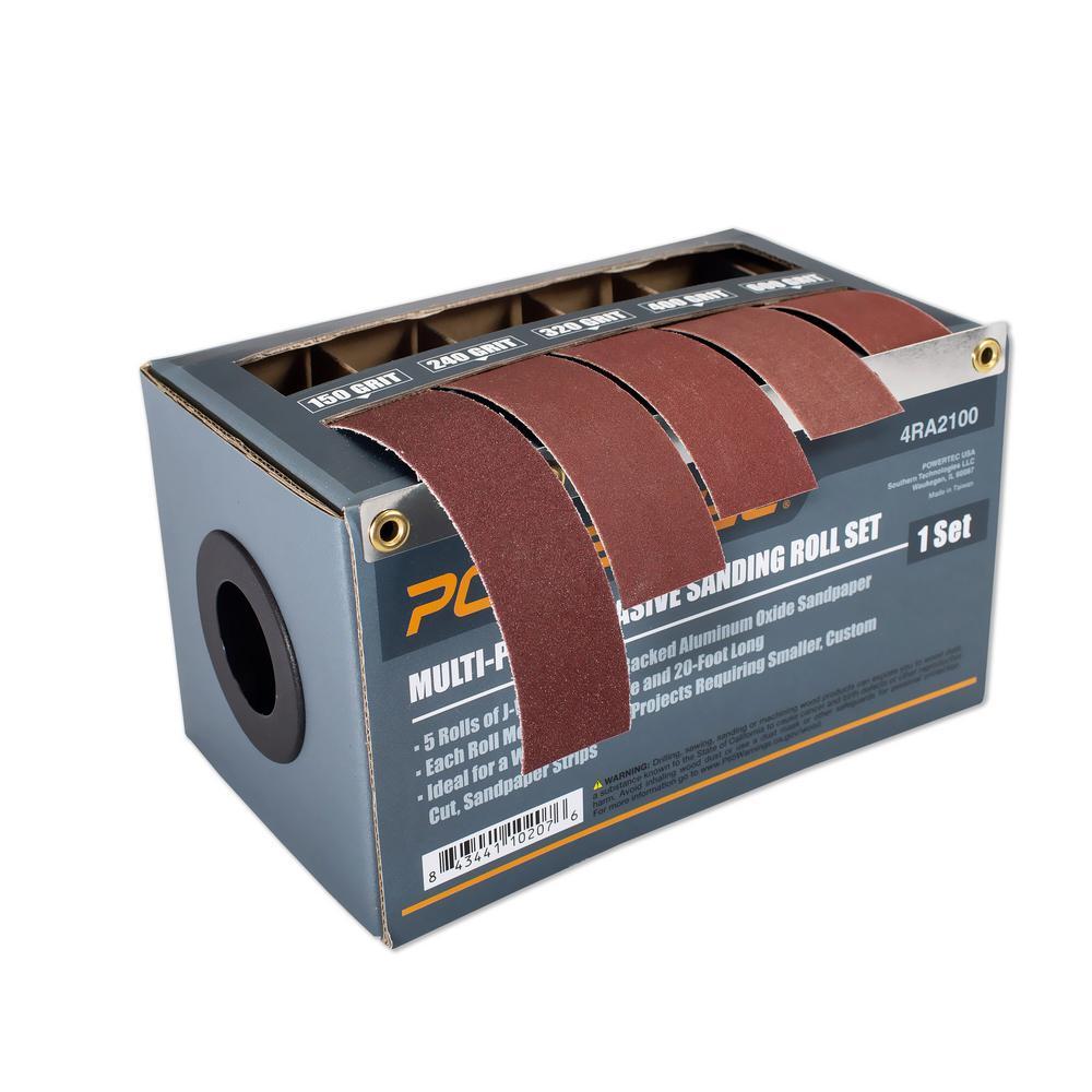 Powertec Turners Sandpaper Abrasive 5 Roll Assortment 4ra2100 The Home Depot