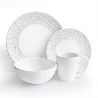 16-Piece Solid White Ceramic Dinnerware Set (Service for 4)