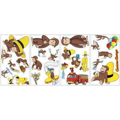 5 in. x 11.5 in. Curious George 24-Piece Peel and Stick Wall Decals