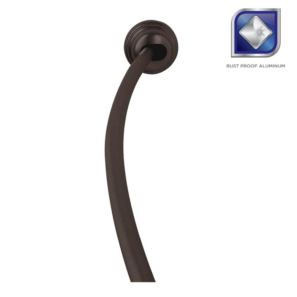 Adjustable Tension Mount Curved Shower Rod In Bronze