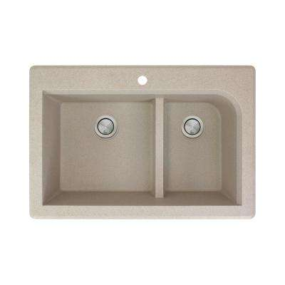 Radius Drop-in Granite 33 in. 1-Hole 1-3/4 J-Shape Double Bowl Kitchen Sink in Cafe Latte