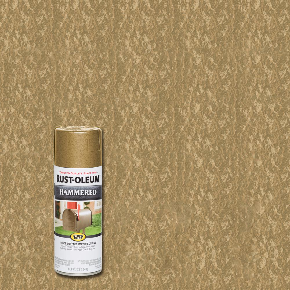 Rust-Oleum Stops Rust 12 oz. Hammered Gold Rush Protective Spray Paint (6-Pack)