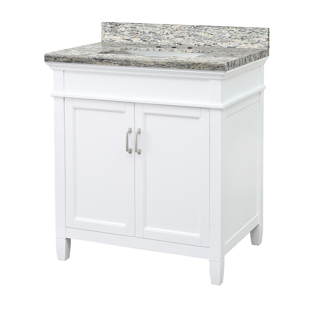 Home Decorators Collection Ashburn 31 in. W x 22 in. D Vanity Cabinet in White with Granite Vanity Top in Santa Cecilia with White Sink