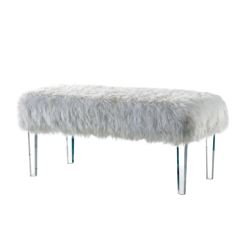 Magnificent Patina White Faux Fur Bench Squirreltailoven Fun Painted Chair Ideas Images Squirreltailovenorg