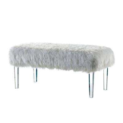 Patina White Faux-Fur Bench