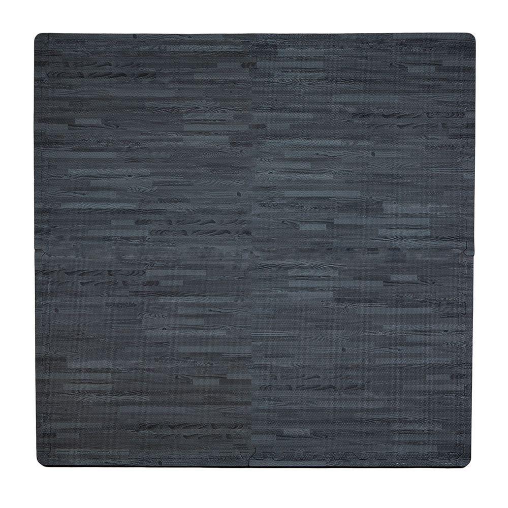 Wood Print Black 50 in. x 50 in. EVA Floor Mat