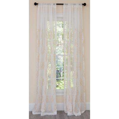 Mohini Embroidered Sheer Rod Pocket Single Curtain Panel in Gold - 54 in. x 108 in.
