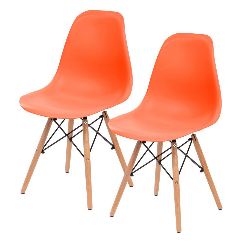 Orange Plastic Shell Chair (Set of 2)