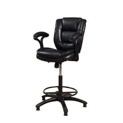 Dawson Adjustable Height Black Cushioned Bar Stool