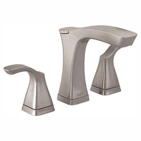 Tesla 8 in. Widespread 2-Handle Bathroom Faucet with Metal Drain Assembly in Stainless