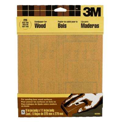 9 in. x 11 in. 220 Grit Very Fine Garnet Sand paper (5 Sheets-Pack)
