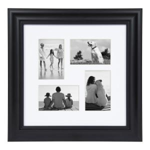 Dalat 14 in. x 14 in. Matted to (4) 4 in. x 6 in. Black Picture Frame