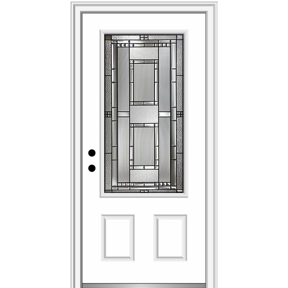 36 in. x 80 in. Metro Right-Hand Inswing Decorative 3/4 Lite Primed Fiberglass Prehung Front Door on 4-9/16 in. Frame