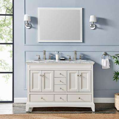 Elite Stamford 48 in. White Solid Wood Bathroom Vanity Set with Double OG White Carrera Marble Top