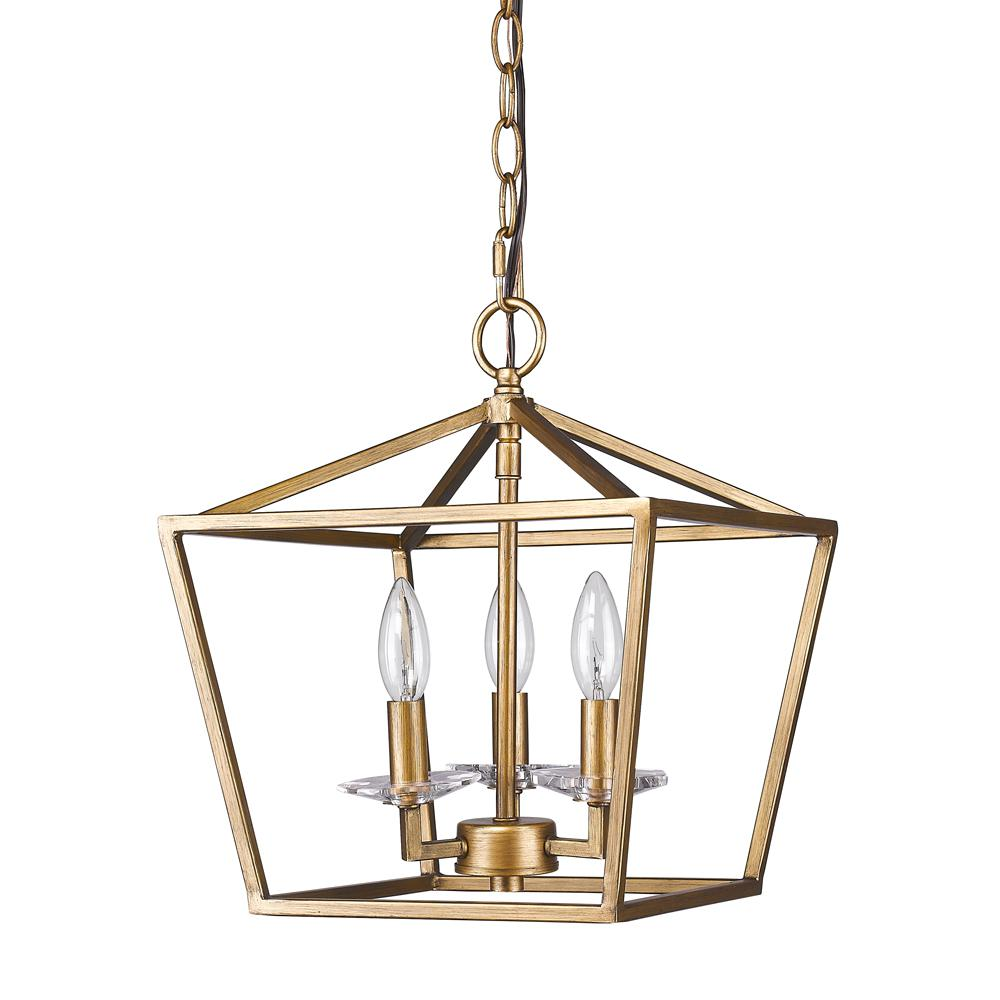 Acclaim Lighting Kennedy 3-Light Indoor Antique Gold Chandelier with  Crystal Bobeches - Acclaim Lighting Kennedy 3-Light Indoor Antique Gold Chandelier With