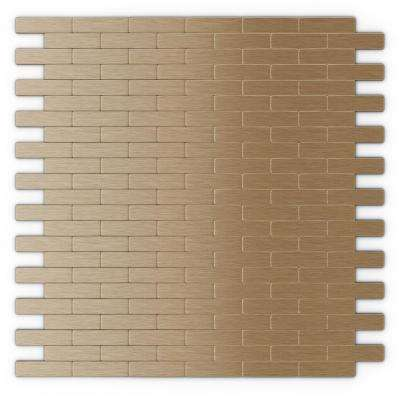 Bricky LC Light Copper 11.81 in. x 11.42 in. x 5 mm Metal Peel and Stick Wall Mosaic Tile