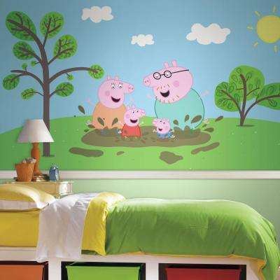 72 in. x 126 in. Peppa the Pig XL Chair Rail 7-Panel Pre-Pasted Wall Mural