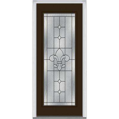 36 in. x 80 in. Carrollton Right-Hand Inswing Full Lite Decorative Painted Steel Prehung Front Door