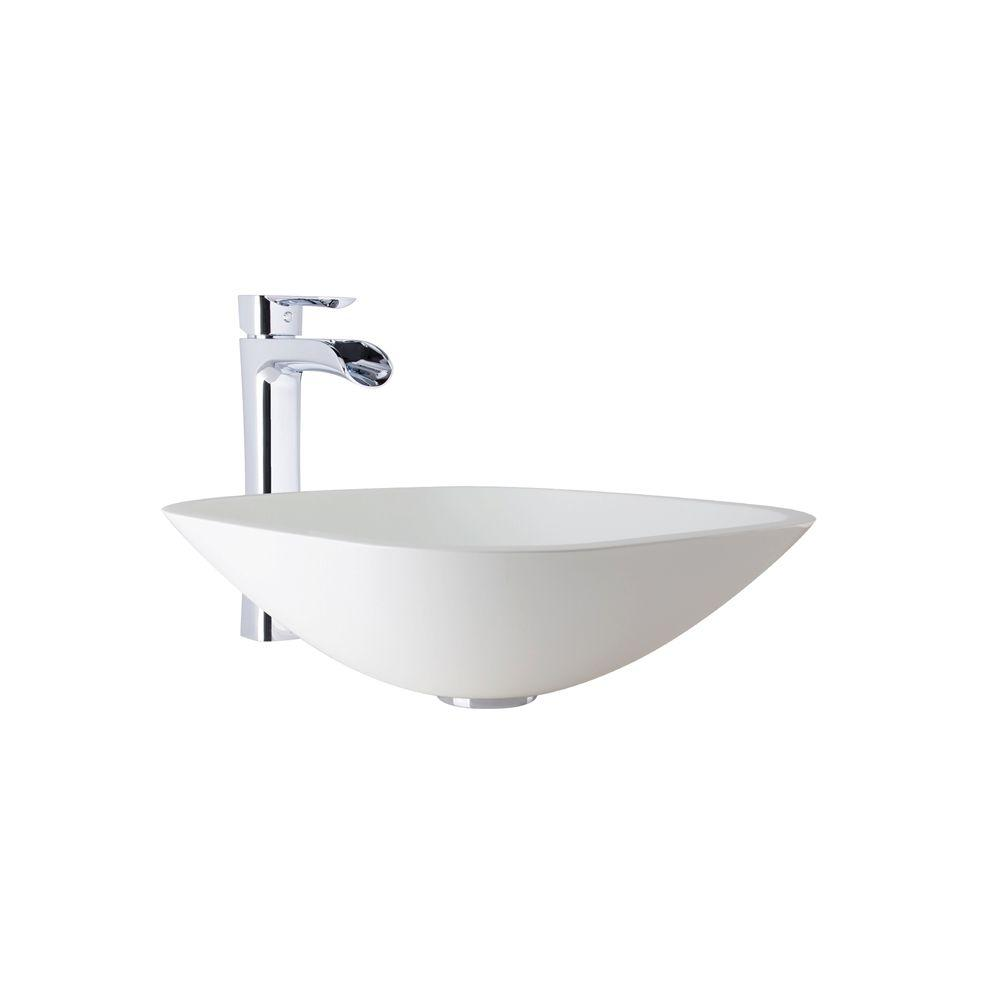 VIGO Square-Shaped Stone Vessel Bathroom Sink in White Phoenix and Niko Faucet Set in Chrome (Grey)