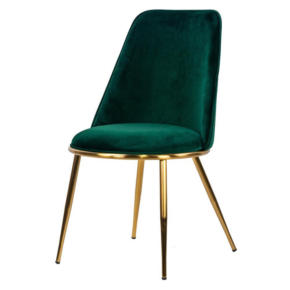 Anzu Green Velvet Dining Chair with Golden Metal Legs (Set of 2)