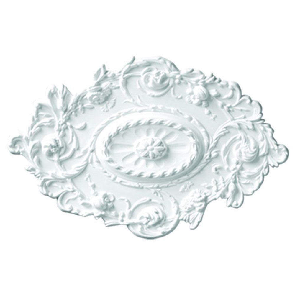 American Pro Decor 30-1/2 in. x 20 in. x 1-1/2 in. Floral Polyurethane Oval Ceiling Medallion