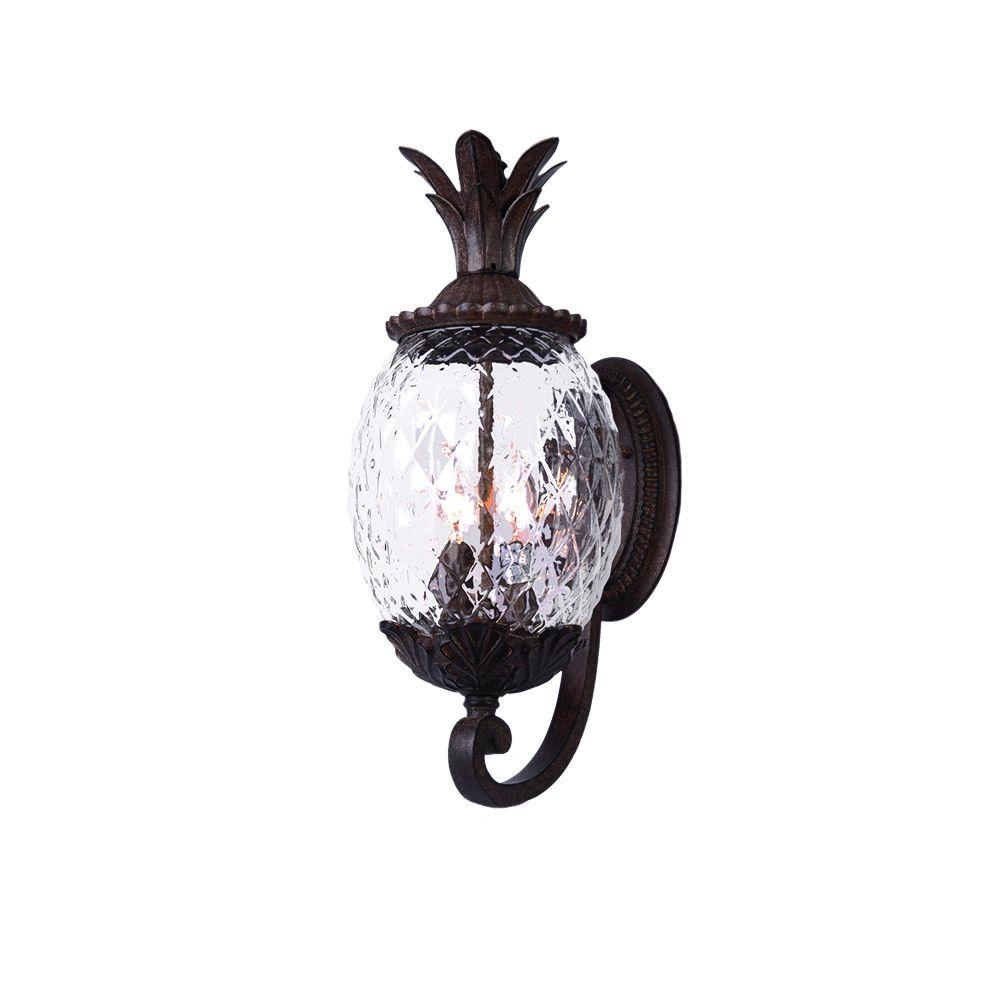 Acclaim lighting lanai collection 3 light black coral outdoor wall mount light fixture 7511bc for Pineapple exterior light fixtures