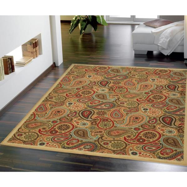 Ottohome Collection Contemporary Paisley Design Beige 5 ft. x 6 ft. 6 in. Area Rug