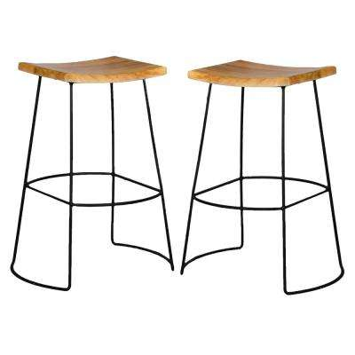 Reece 30 in. Black and Natural Bar Stool (Set of 2)