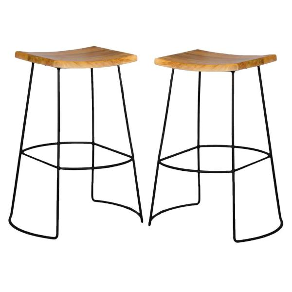 Carolina Cottage Reece 30 in. Black and Natural Bar Stool (Set