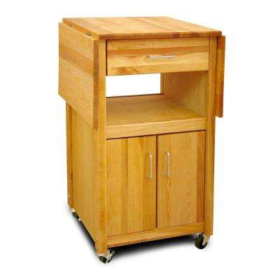 Natural Wood Kitchen Cart with Storage