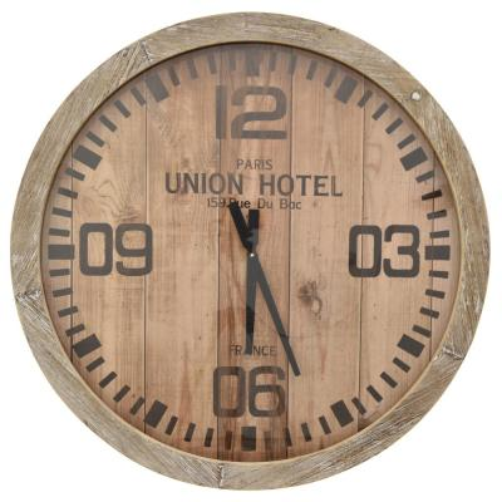 30 in. Dia Natural Wood Brown Framed Wall Clock