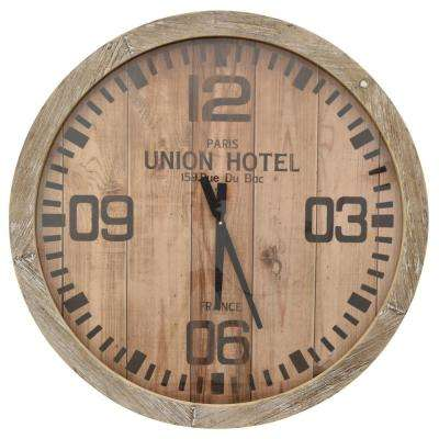 30 in. Dia Natural Wood Brown Framed Wall Clock