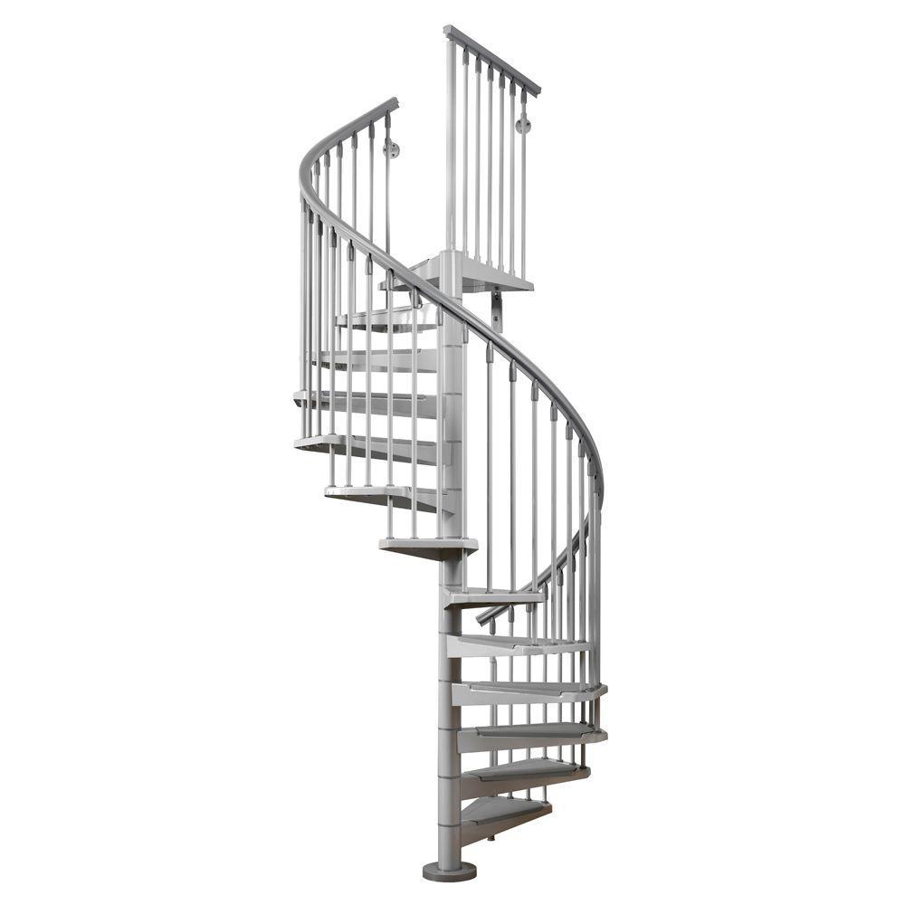 Eureka 55 in. Grey Spiral Staircase Kit