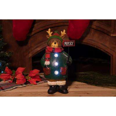 TM 12 in. H Reindeer with Light-Up Merry Sign